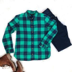 J.Crew Green Shrunken Boy Shirt Plaid Size 10